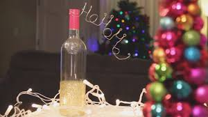 How To Decorate A Wine Bottle For Christmas Christmas Glitter Wine Bottle Decoration DIY YouTube 18