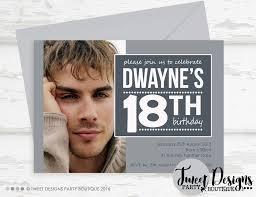 male 18th birthday photo invitation photo invitation grey invitation adut invitations 21st birthday invitation 18th 40th
