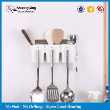 plastic wall mounted kitchen utensils spoon chopsticks cutlery holder organizer multifunctional storage rack with hooks malaysia
