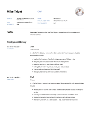 Casual Resume Example Chef Resume Samples Resumeviking 43