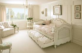 exciting mini bed nuanced in cute white installed at girl bedroom which is decorated with decorating shabby chic concept perfected with crystal chandelier