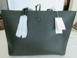 tory burch 42200 mcgraw leather tote in boxwood navy 03255423 398