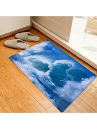 ocean wave pattern water absorption area rug blue w16 inch l24 inch