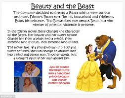 disney s beauty and the beast promotes domestic violence daily  a lesson plan now available in thousands of classrooms preaches the beast does not