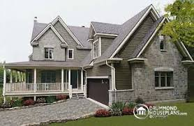 Narrow Lot House Plans  below       from DrummondHousePlans comTurningdale Traditional home   wraparound porch  to bedrooms   car garage