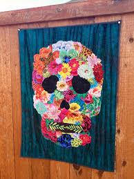 Sugar skull quilt pattern/skull art quilt pattern | Patterns and Etsy & FREE TUTORIAL - Flower-Collaged Skull Art Quilt Adamdwight.com