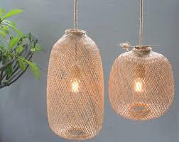 etsy lighting pendants. Bamboo Pendant Light - Handmade Wooden Lamp Hanging Repurposed Fishing Trap Basket, Natural Etsy Lighting Pendants I