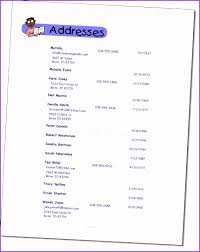 Sample Address Book Template. Template For Phone List Template For ...