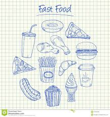 fast food doodles squared paper royalty stock image image fast food doodles squared paper