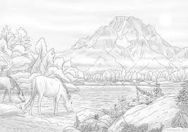 Nature Landscape Printable Adult Coloring Page From Etsy