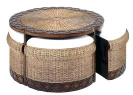 round coffee table with stools wicker rattan sofa cope tables footstools underneath