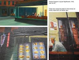 street art in paris shows a re interpretation of the edward hopper painting nighthawks
