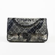 leather classic painted double flap medium bag chanel