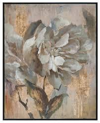 white gold fl peony painting