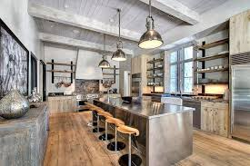 industrial pendant lighting fixtures. Stylish Industrial Kitchen With Exposed Beams Ceiling And Stainless Steel Pendant Lighting As Light Fixtures