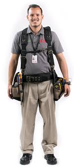 we like to stay safe and prepared so were always wearing our belts dish network installers