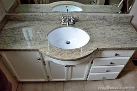 diy bathroom vanity countertops. the new granite countertop is a nice neutral color with little green and black. diy bathroom vanity countertops p