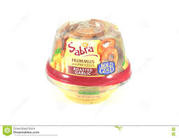 new york ny 12 october 2016 sabra pea hummus with rold gold pretzels roasted garlic flavor isolated