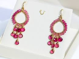 gold lovely chandelier hoop earrings rubellite pink tourmaline chandelier earrings in gold filled wire wrapped