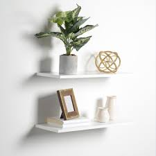 h slim white floating shelves 2 pack