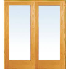 1 mmi door 60 in x 80 in both active unfinished pine wood full lite