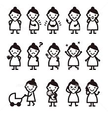 妊婦さん いろいろなポーズと表情の女性イラスト 写真素材 4917823