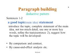b kosel paragraph building deductive pattern sentences a good  1 b kosel paragraph building deductive pattern sentences 1 2 a good topic
