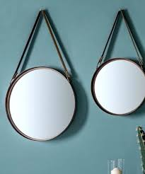 round leather mirror set of two round mirrors with faux leather straps leather framed mirrors uk