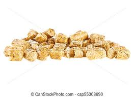 Pelleted compound feed isolated on white background, wheatfeed pellets.