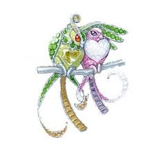 Эскиз броши Printemps Oiseaux de Paradis, золото, гранаты ...