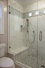 White shower stall w/grey tile band. Contemporary Bathroom - Found on  Zillow Digs