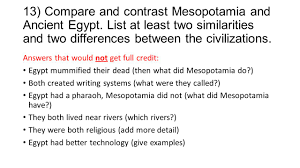 Compare And Contrast Mesopotamia And Egypt Egypt And Mesopotamia Similarities And Differences College Paper