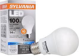 E45 Light Bulb Sylvania 100w Equivalent Led Light Bulb A19 Lamp 1 Pack Daylight Energy Saving Long Life Medium Base Efficient 14w 5000k 100w