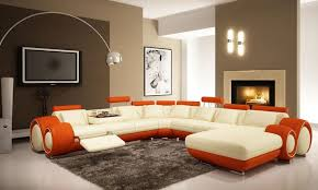 gorgeous white prange sofa in modern family rooms design with modern decorative lamp