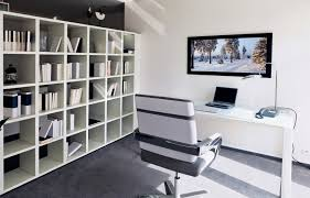 office styles. Contemporary Home Office Design Ideas Interior With Large White Bookcase, Desk And Chair, Styles