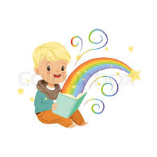 adorable little boy reading magic book with fairy tales cartoon baby character in flat design children s imagination rainbow and stars fantasy concept
