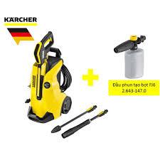 Combo máy xịt rửa xe Karcher K4 full control và đầu phun tạo bọt FJ6