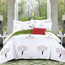 100 cotton white color tree print hotel bedding sets king queen size bed set duvet palm