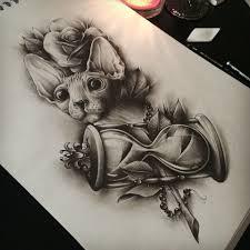 оригинальный универсальный эскиз тату коты и кошки 165