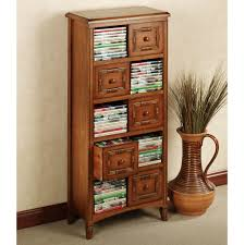 contemporary brown finish oak wood dvd cabinet tower with five small drawers using brown polished steel