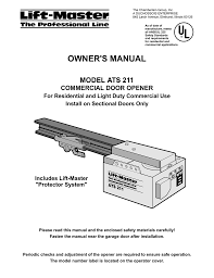 Light Duty Commercial Garage Door Opener Liftmaster Chaindrive Model Ats211 Commercial Year N A