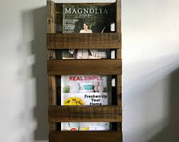 Bathroom Vertical Double Magazine Rack wall mount, Paper organizer, Wood  wall mounted magazine storage