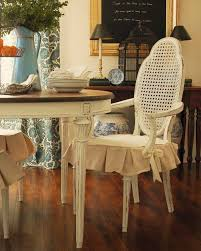 clic vine look white wood dining chairs with short skirt seat cushion slipcovers for dining room