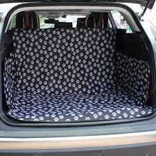 Black Footprint Waterproof <b>Pet Dog</b> Cat Car Trunk Carrier Cover ...