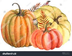 pumpkin drawing with leaves. autumn composition of yellow and orange pumpkin leaves, watercolor hand drawing. drawing with leaves i