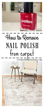 if you find yourself with bright red nail polish spilled on your favorite carpet don