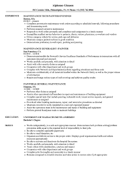 Painter Resume Maintenance Painter Resume Samples Velvet Jobs 13