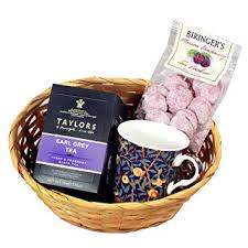 english earl grey tea gift basket with tea mug and tea cookies