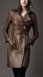 burberry london women ribbed panel leather trench coat 3