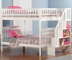 Woodland Full over Stair Bunk Bed AB56802 | Atlantic Furniture Kids Bedroom furniture in White finish